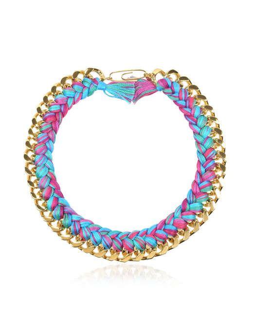 Aurelie Bidermann - Blue Do Brasil Gold And Cotton Necklace - Lyst