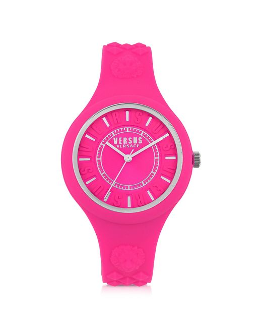 Versus  - Pink Fire Island Silicon And Silver Tone Stainless Steel Women's Watch - Lyst