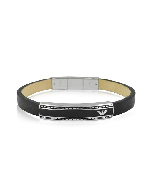 Emporio Armani | Black Stainless Steel Signature Men's Bracelet for Men | Lyst