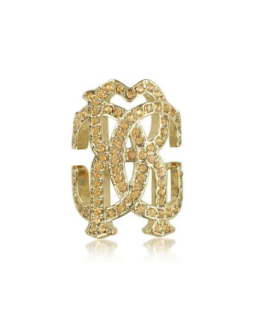 Roberto Cavalli - Metallic Rc Icon Light Gold Ring W/crystals - Lyst