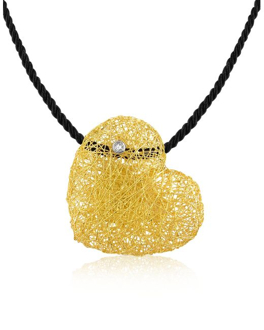 Orlando Orlandini - Metallic Arianna - Diamond Heart Pendant W/velvet Lace - Lyst