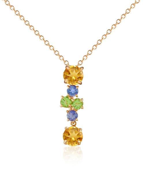 Forzieri - Metallic Multicolor Gemstone 18k Gold Pendant Necklace - Lyst