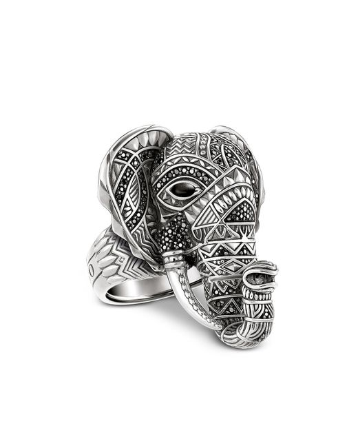 Thomas Sabo - Metallic Blackened Sterling Silver Elephant Ring W/black Zirconia Pavè - Lyst