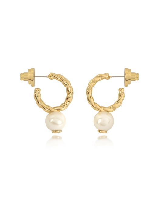 Tory Burch | Metallic Ivory And Tory Gold Small Rope Pearl Hoop Earrings | Lyst