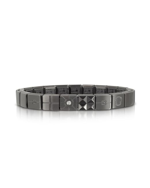 Nomination - Metallic Steel Ikons Brushed Stainless Steel Bracelet W/white Cubic Zirconia for Men - Lyst