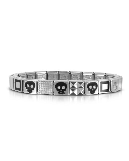 Nomination - Metallic Steel Ikons Black Skull And Squared Symbols Stainless Steel Bracelet W/cubic Zirconia - Lyst
