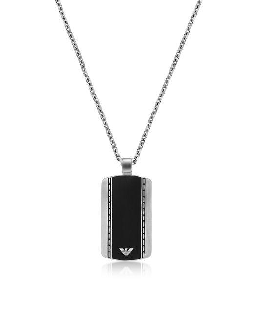Emporio Armani - Metallic Men's Signature Dog Tag Necklace for Men - Lyst