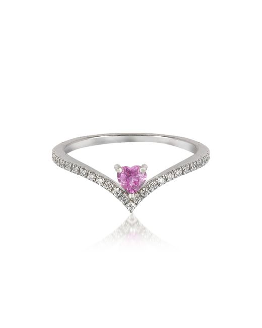 Forzieri - V-shaped Diamonds Band Ring With Enclosed Pink Natural Sapphire Heart - Lyst