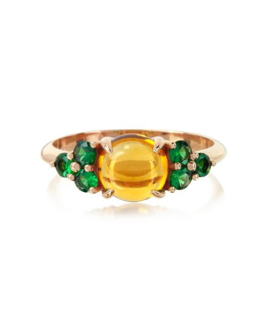 Mia & Beverly | Yellow Citrine Quartz And Sapphires 18k Rose Gold Ring | Lyst