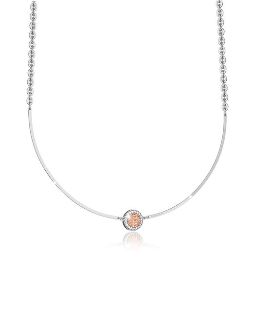 Rebecca - Pink R-zero Rhodium Over Bronze Necklace W/stones - Lyst