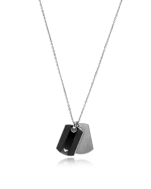 Emporio Armani - Metallic Iconic Black And Silver Stainless Steel Charm Men's Necklace - Lyst