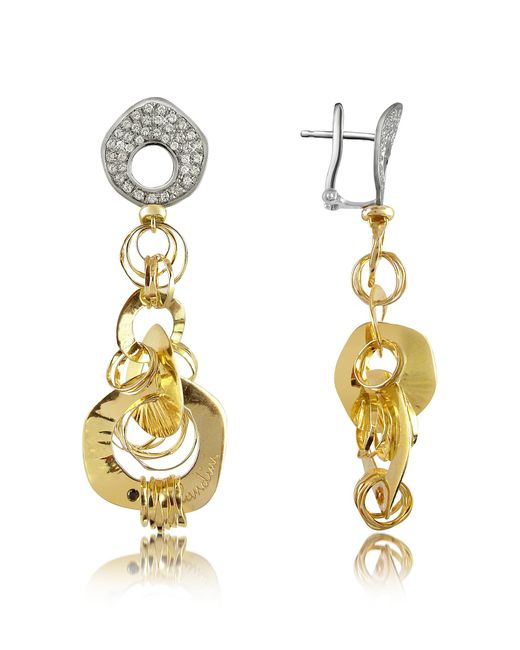 Orlando Orlandini - Metallic Fashion - Diamond 18k Two-tone Gold Drop Earrings - Lyst
