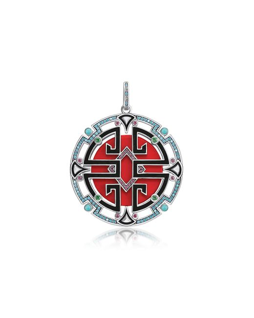 Thomas Sabo - Red Blackened Sterling Silver Enamel And Glass-ceramic Stones Asian Ornaments Pendant - Lyst