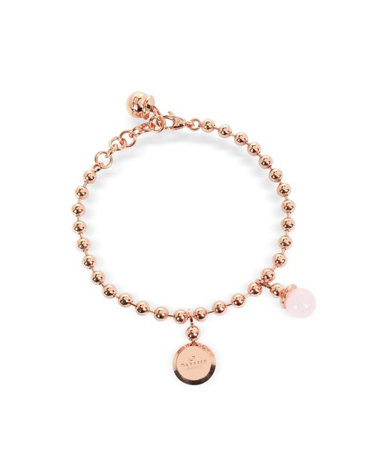 Rebecca - Boulevard Stone Rose Gold Over Bronze Bracelet W/hydrothermal Pink Stone - Lyst