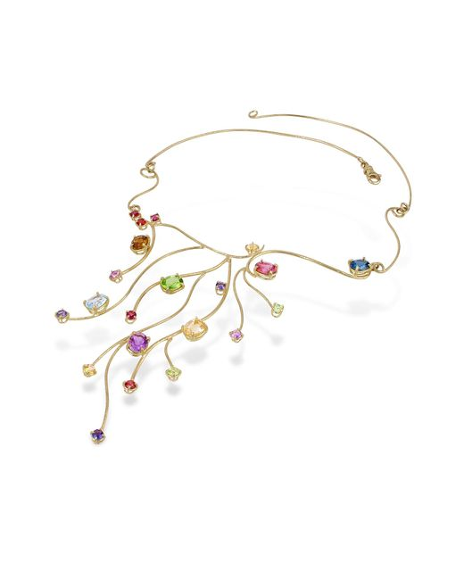 Forzieri - Metallic 18k Yellow Gold Multi-gemstones Necklace - Lyst