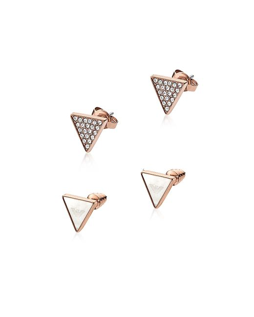 Emporio Armani | Pink Signature Rose Goldtone Triangle Earrings | Lyst