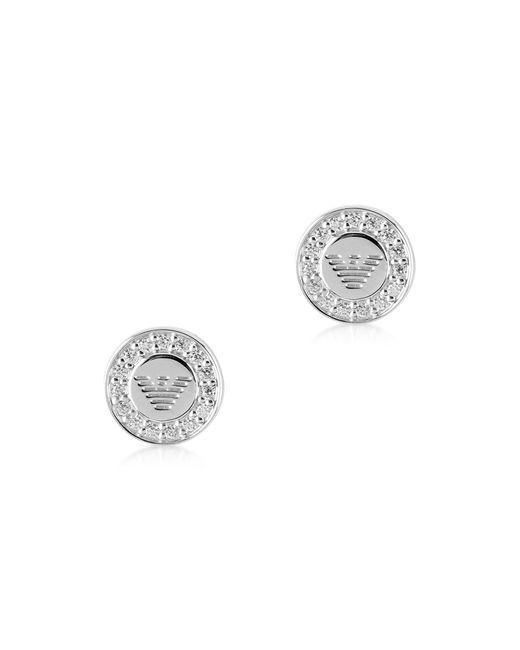 Emporio Armani - Metallic Sterling Silver Signature Round Women's Earrings - Lyst