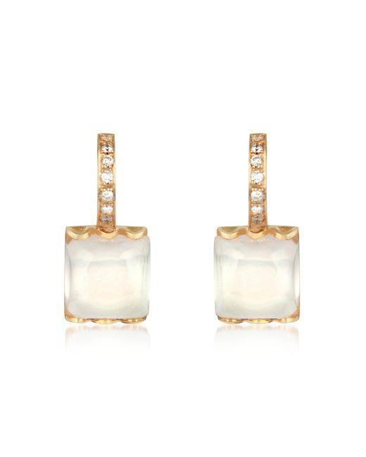 Mia & Beverly - Pink Rose Quartz And Diamond 18k Gold Earrings - Lyst