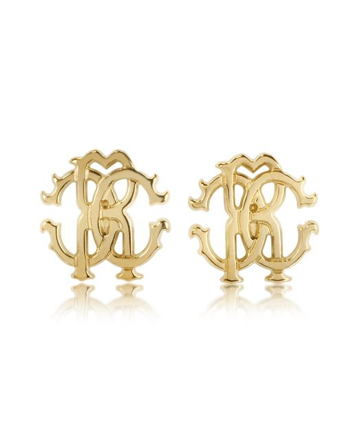 Roberto Cavalli | Metallic Rc Lux Golden Stud Earrings | Lyst