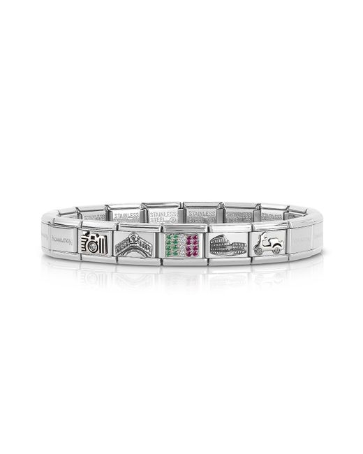 Nomination - Metallic Travel In Italy Sterarling Silver And Stainless Steel Bracelet W/cubic Zirconia Italian Flag - Lyst