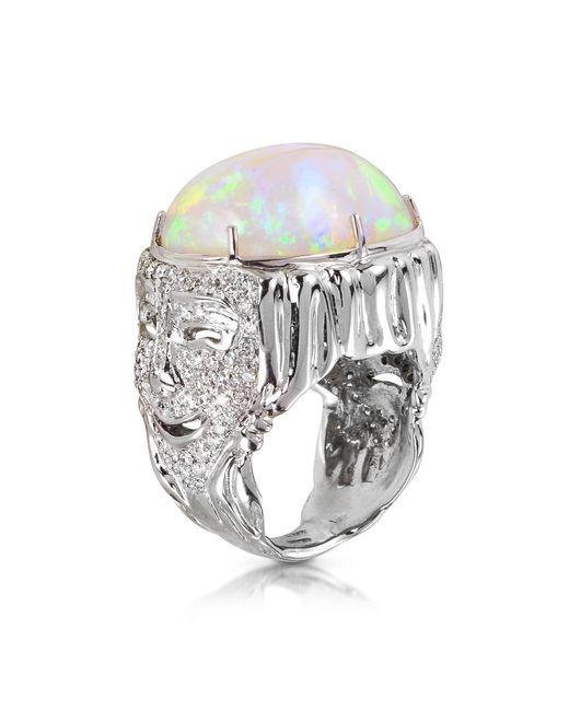 Bernard Delettrez - Metallic Drama Masks Gold Pave Ring W/opal And Diamonds - Lyst
