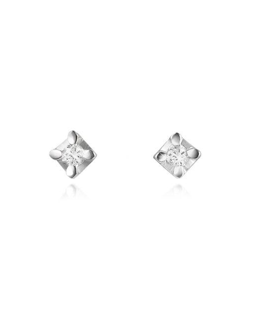 Forzieri - White 0.04 Ct Diamond Stud 18k Gold Earrings - Lyst