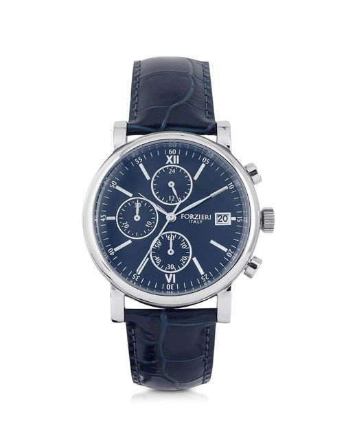 Forzieri - Blue Berlino Silver Tone Stainless Steel Case And Genuine Embossed Leather Men's Chrono Watch for Men - Lyst