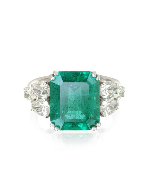 Forzieri - Green Emerald And Diamond White Gold Ring - Lyst