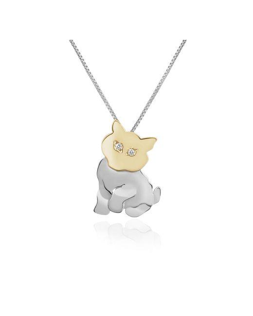Forzieri - White Diamond & 18k Gold Cat Pendant Necklace - Lyst