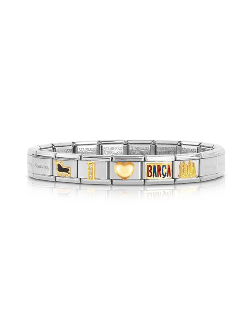 Nomination - Metallic Classic I Love Barca Gold And Stainless Steel Bracelet for Men - Lyst