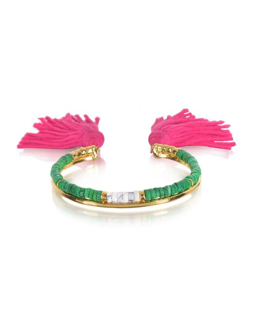 Aurelie Bidermann - 18k Gold-plated & Green Jaspe And White Bamboo Beads Sioux Bracelet W/pink Cotton Tassels - Lyst