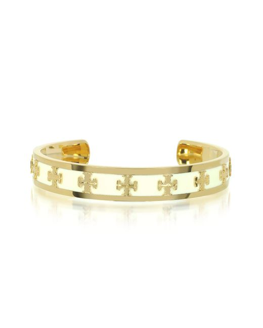 Tory Burch - White Tory Gold Brass And Enamel Raised Logo Bangle - Lyst