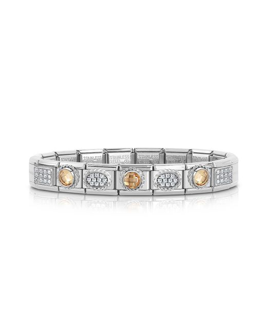 Nomination - Metallic Classic Champagne Sterling Silver And Stainless Steel Bracelet W/cubic Zirconia - Lyst