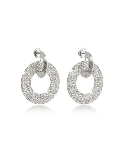 Rebecca | Metallic R-zero Rhodium Over Bronze Drop Hoop Earrings | Lyst