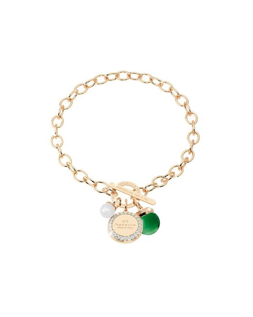 Rebecca - Hollywood Stone Yellow Gold Over Bronze Chain Bracelet W/hydrothermal Green Stone And Glass Pearl - Lyst