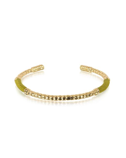Aurelie Bidermann - Metallic Soho Serpent 18k Gold-plated Bangle W/khaki Thread - Lyst
