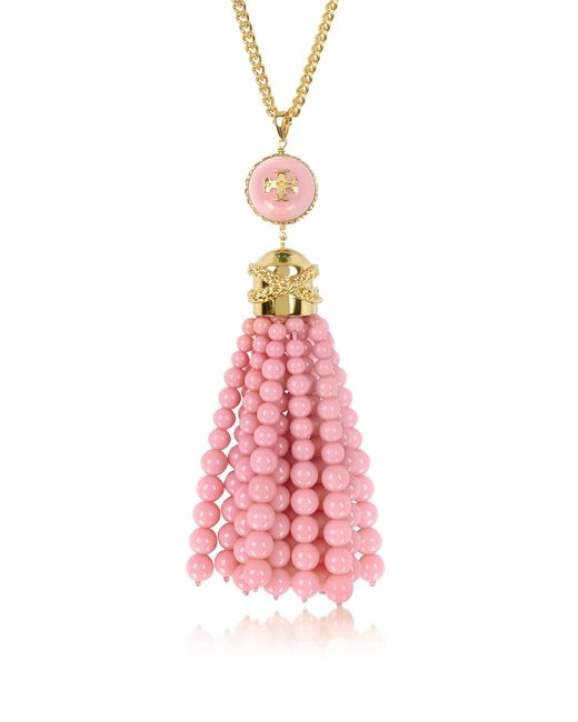 Tory Burch | Pink Tory Gold Brass And Resin Beaded Tassel Long Necklace | Lyst
