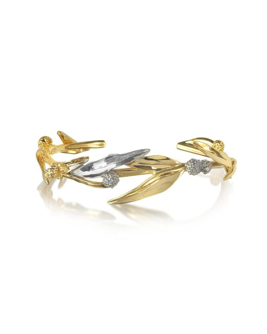 Aurelie Bidermann | Metallic 18k Gold-plated Brass Mimosa Bangle Bracelet | Lyst