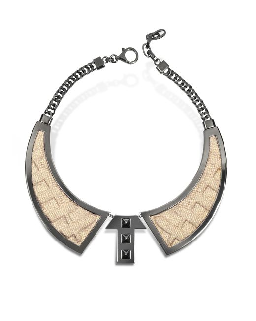 Avril 8790 - Metallic Bavero Contemporaneo Ruthenium Plated Brass And Golden Viscose Necklace - Lyst