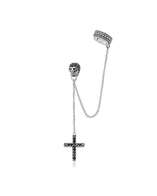 Thomas Sabo - Metallic Blackened 925 Sterling Silver Ear Cuff Cross And Skull W/black Zirconia - Lyst