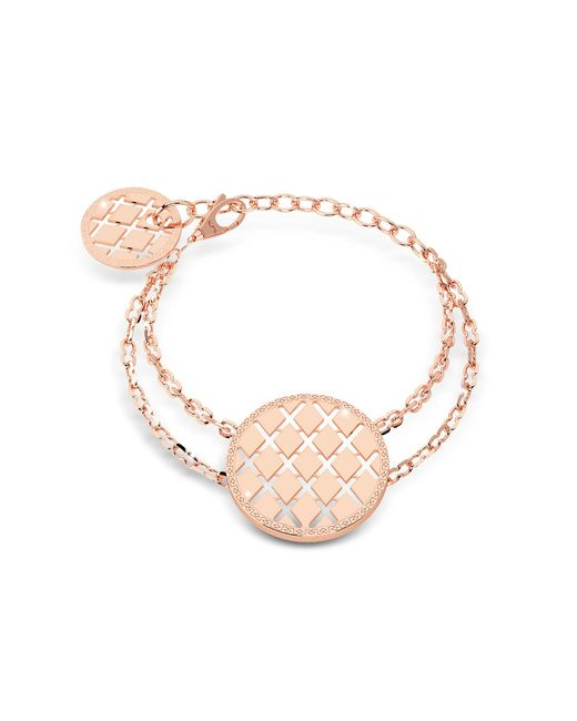 Rebecca | Pink Melrose Yellow Gold Over Bronze Bracelet W/round Charms | Lyst