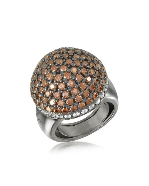 Azhar - Brown Sterling Silver Cubic Zirconia Semi-sphere Cocktail Ring - Lyst