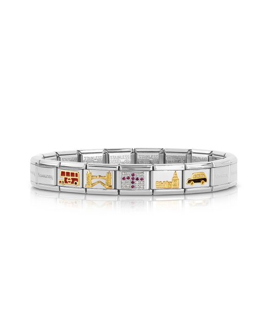 Nomination - Metallic Classic Uk Golden Stainless Steel Bracelet W/cubic Zirconia Flag - Lyst