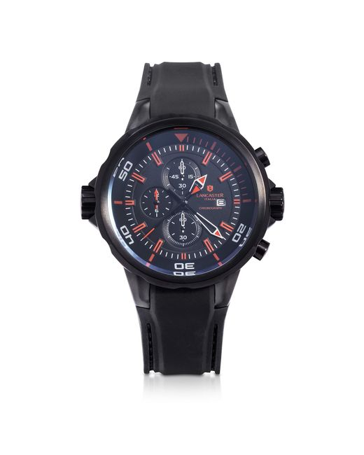 Lancaster - Space Shuttle Black Stainless Steel Chronograph Watch for Men - Lyst