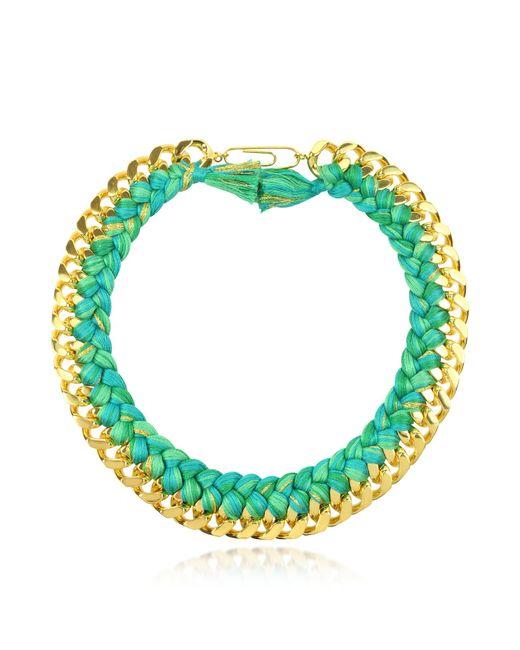 Aurelie Bidermann - Green Do Brasil Gold And Cotton Necklace - Lyst