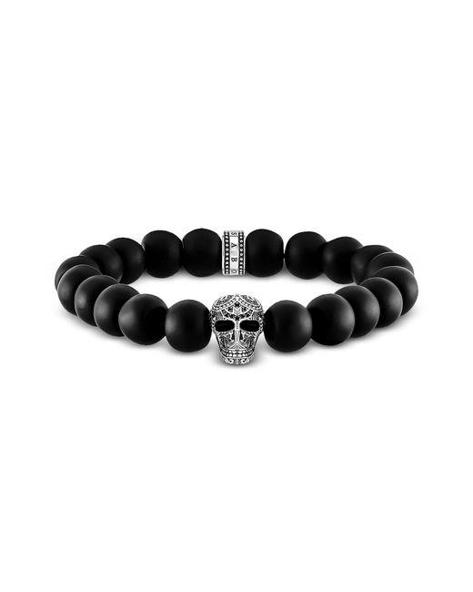 Thomas Sabo - Blackened 925 Sterling Silver And Matt Obsidian Beads Maori Skull Power Bracelet for Men - Lyst