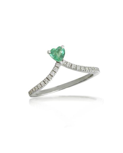 Forzieri - Green Emerald Heart V-shaped Diamonds Band Ring - Lyst