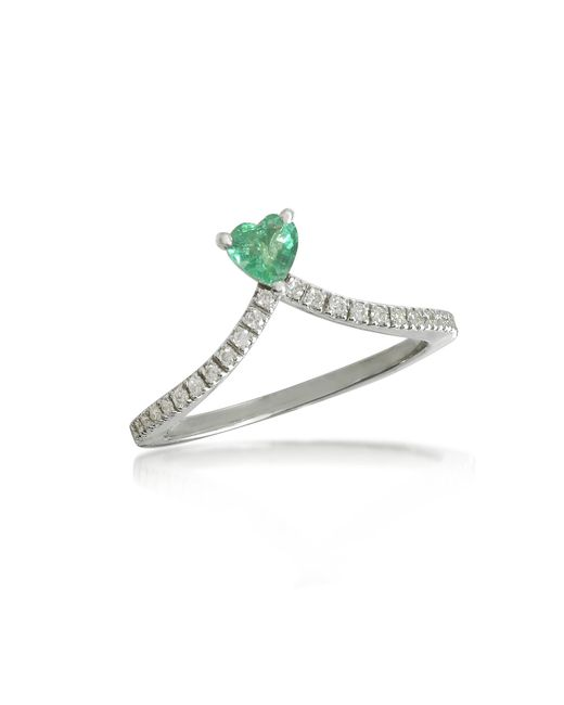 Forzieri - Green Emerald Heart V-shaped Diamonds Band Ring - Lyst