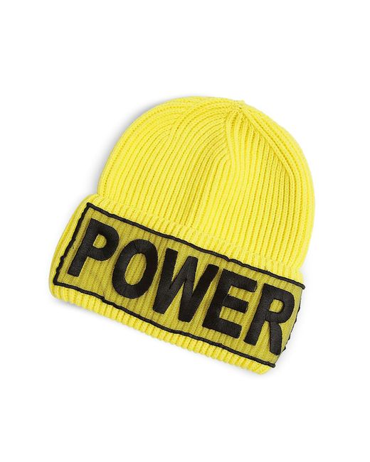 Versace - Yellow Power Embroidered Beanie Hat - Lyst