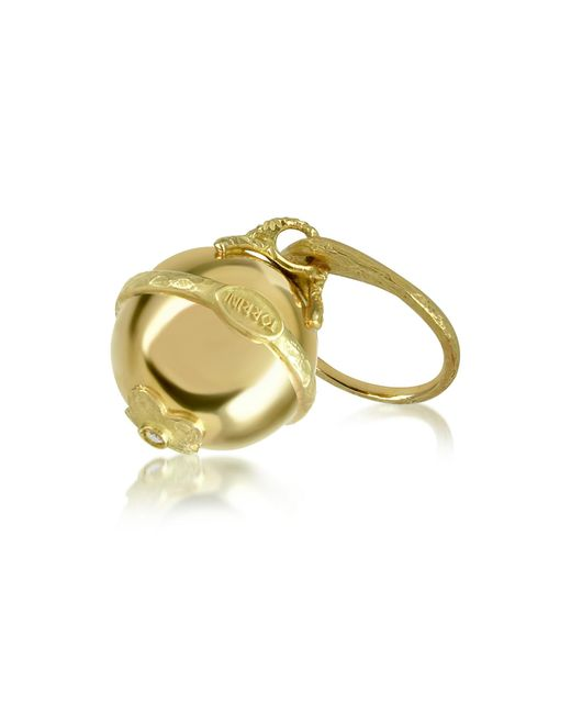 Torrini | Metallic Ball - 18k Yellow Gold Diamond Charm Ring | Lyst